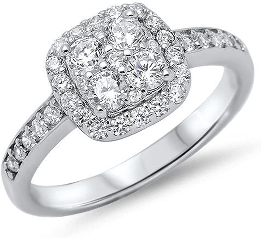 .925 Sterling Silver Ring CZ Ladies Engagement Wedding Bridal size 3-13 New