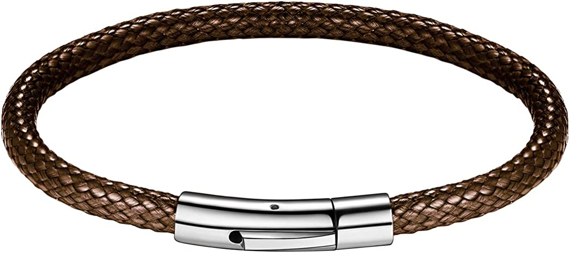 Lederkette Halskette Armband Schwarz Halsband geflochten Edelstahl Verschluss