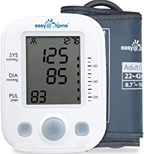 Easy@Home Digital Blood Pressure Monitor Upper Arm with Pulse Rate Indicator, Accurate Automatic BP Machine with Large Cuff,2 User Individual Memory, EBP-020