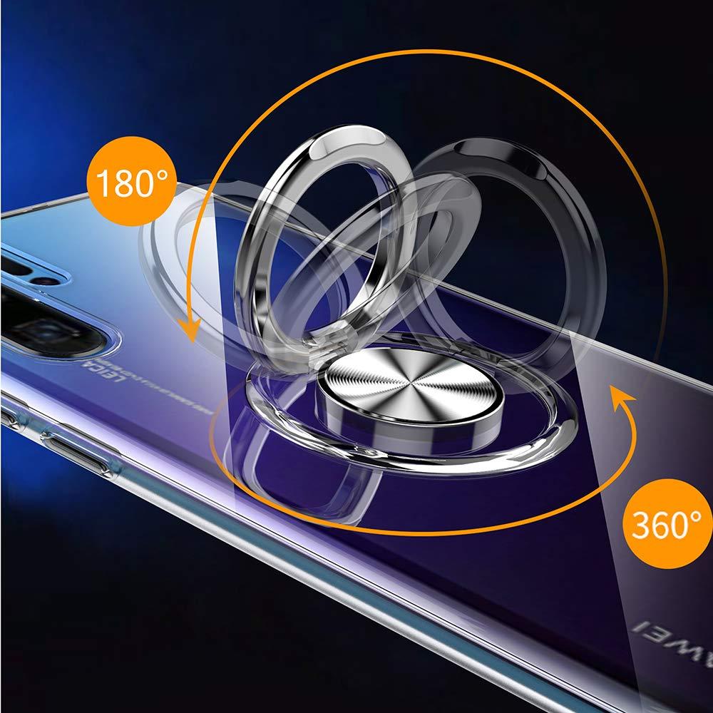 H/ülle kompatibel mit Huawei P30//P30 Pro//P30 Lite,Ultra D/ünn Clear Transparente TPU PC Handyh/ülle Mit 360 /° Verdrehbare Ring,und Kickstand mit Magnet auf Backcover Schutzh/ülle