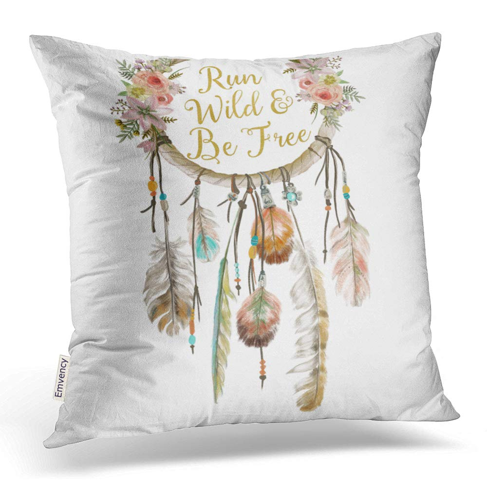 Accrocn Colorful Vintage Tribal Boho Bright Watercolor Dream Catcher Feather Nursery Polyester 16 x 16 Inch Square Throw Pillow Covers with Hidden Zipper Home Sofa Cushion Decorative Pillowcases