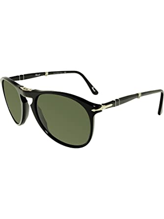 b3e3e18c3f Amazon.com  Persol PO9714S - 95 31 Sunglasses Black w  Green Lens ...