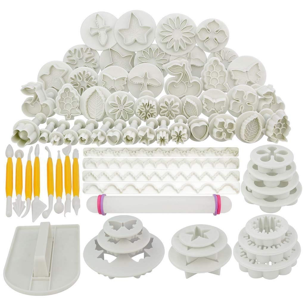 Member's Day 68pcs Cake Plum Flower Fondant Decor Plunger Cutter Cookie Pastry Mould Mold for Wedding Birth by JKioleg