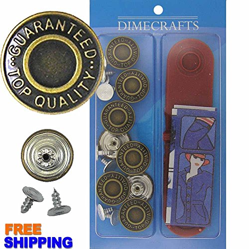 JBDIYME 17mm Brass Kit, 8 Set with Tool Jean Tack Buttons GHQ