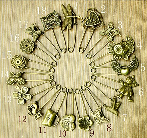 18pcs Set Bronze Vintage Hijab Pins /Brooch Pins/Safety Pins by Neutral
