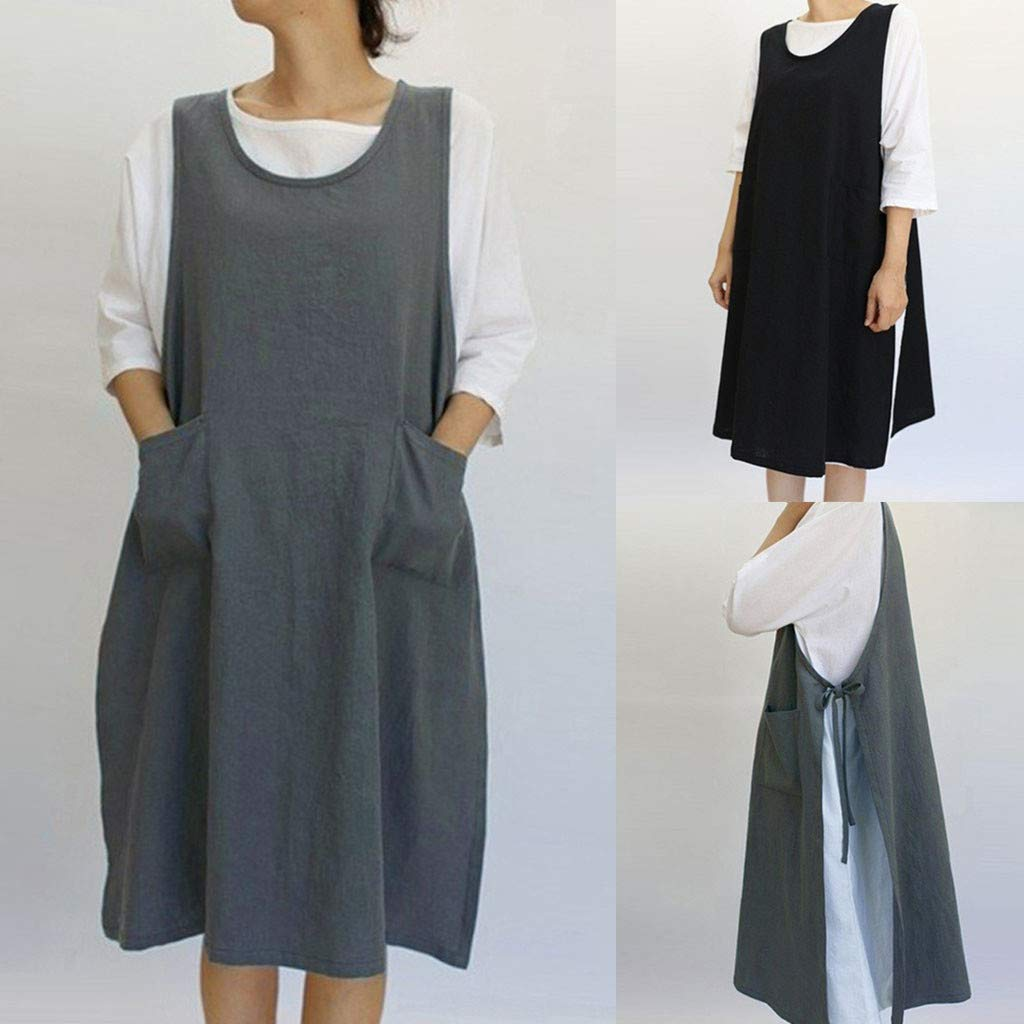 a29e9e24218 Sixcup Women Cotton Tunic Dress Casual Apron With Pockets Japanese Style Pinafore  Dress Retro Apron Kitchen Cooking Cleaning Fancy Dress Cosplay Costume  ...