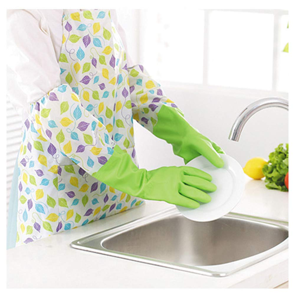 LEYME-Kitchen Cleaning Gloves Warm Gloves and Outdoor Multi-Purpose Clean Gloves Non-Slip Dishwashing Gloves with Long Cuff Household Gloves and Warm, Set of 2(Pink and Green)