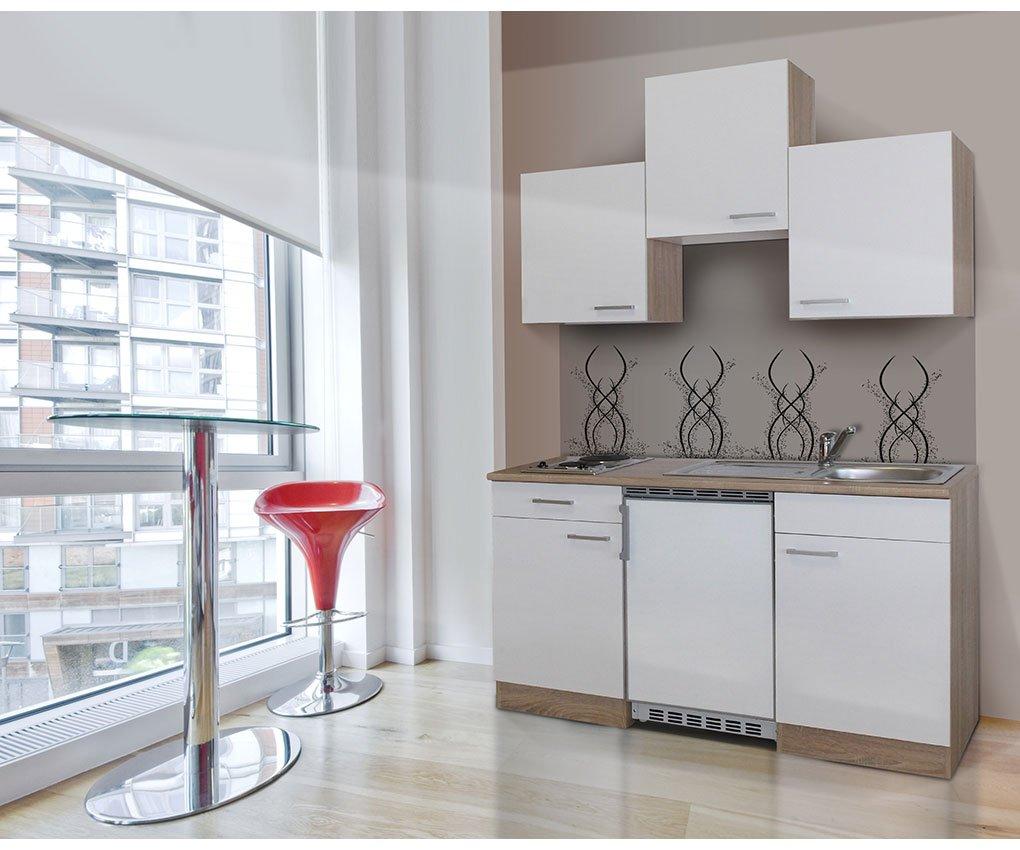 Respekta KB150ESW Single Mini Küche Küchenzeile Küchenblock 150 Cm EICHE  SÄGERAU WEISS Mit Einbaukühlschrank, Einbauspüle, Kochmulde: Amazon.de:  Küche U0026 ...