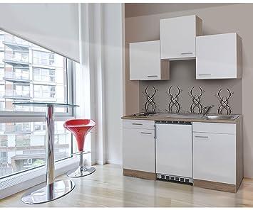 respekta KB150ESW Single Mini Küche Küchenzeile Küchenblock 150 cm ...
