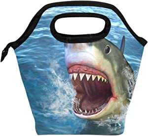 IMOBABY Shark Attack Lunch Bag Tote Bag Insulated Lunchbox Handbag for Outdoor Travel Picnic School Office