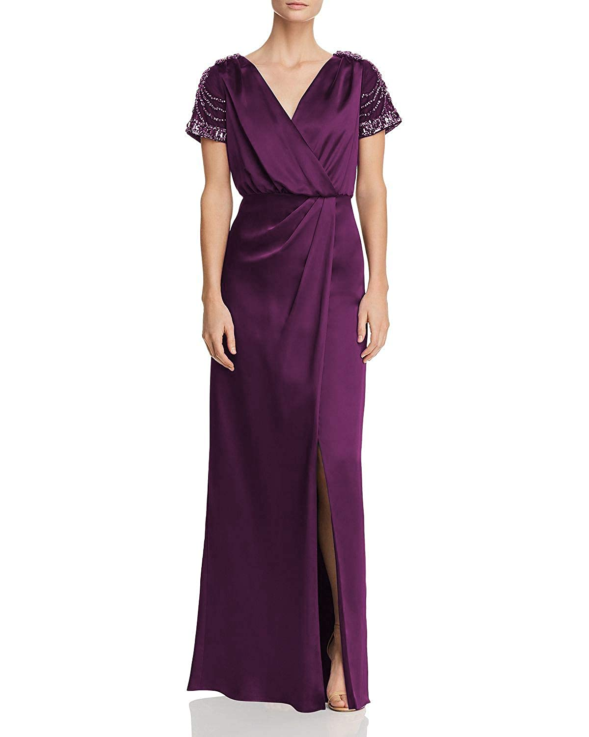 Purple Wanshaqin Women's Sheer Embellished Caps VNeck Evening Gown for Wedding Party Occasions