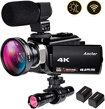 Amazon Com 4k Video Camera Zohulu Camcorder Wifi Vlogging Camera For Youtube With Microphone 60fps 48mp Ultra Hd 16x Digital Zoom Night Vision Camera With Ir Flashlight Wide Angle Lens 2 Batteries
