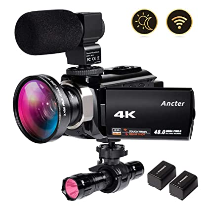 4K Video Camera Zohulu Camcorder, WiFi Vlogging Camera for YouTube with  Microphone, 60FPS 48MP Ultra HD 16X Digital Zoom Night Vision Camera with  IR