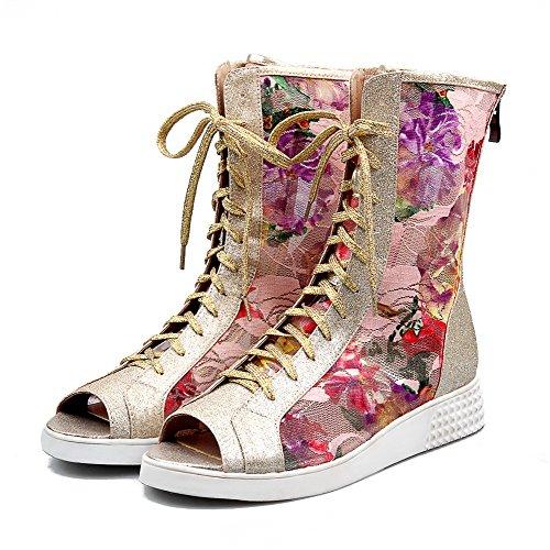 AgooLar Women's Peep Toe Low-heels Soft Material Assorted Colors Zipper Sandals Pink 2CBXljDI6