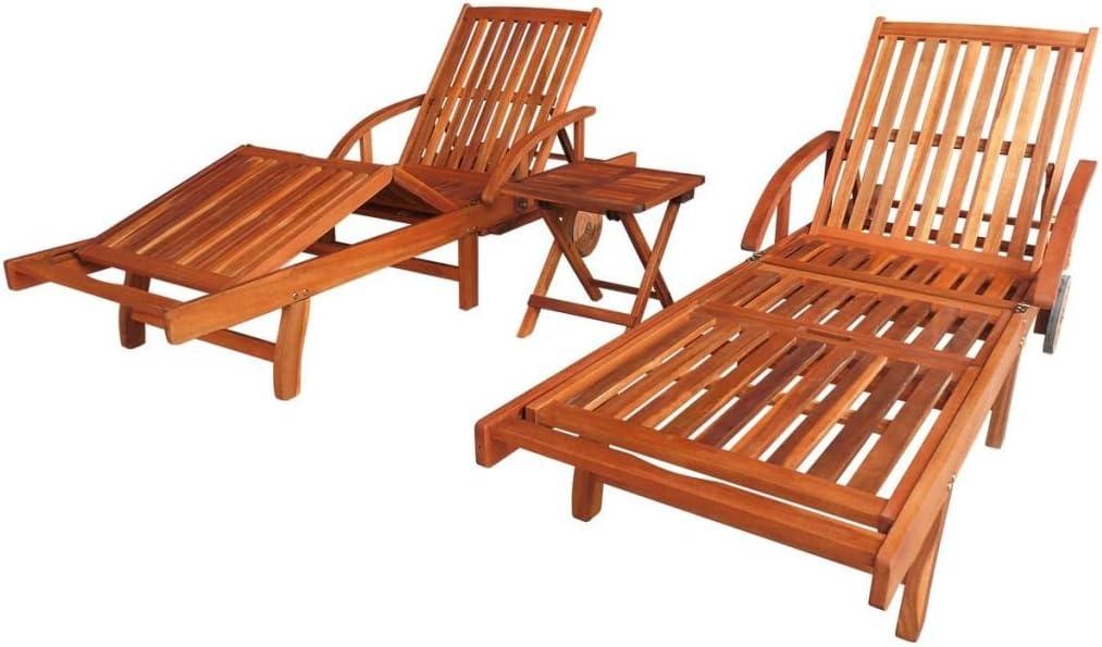 vidaXL Set Tumbonas Madera de Acacia 3 uds.: Amazon.es: Jardín