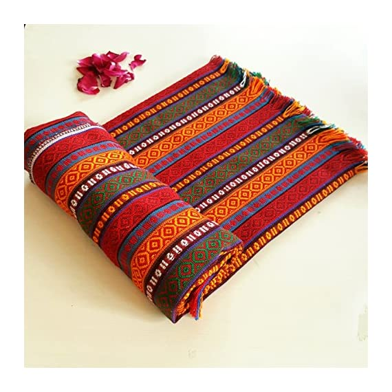 "Secret Sea Collection Bohemian Multicolor Striped Cotton Small Square Tablecloth, Picnic Outdoor Blanket, Throw, Washable, Reversible, Design: Hot Chili Sauce (40"" x 40"") - Vibrant colors and It's great quality fabric to suit your table better. The design is woven in, not printed for exceptional quality! Made in Turkey, Material: Cotton, Dimension: 40'' x 40'' inches (100x100 cm), Weight:0.88 lb, Shape: Square Versatile and Reversible, Perfect for end tables, side tables, balcony tables, outdoor picnic tables, Multiuse: tablecover, picnic blanket, cover, throw,any outdoor indoor event, play blanket, yoga blanket - tablecloths, kitchen-dining-room-table-linens, kitchen-dining-room - 61BRhRoRMZL. SS570  -"