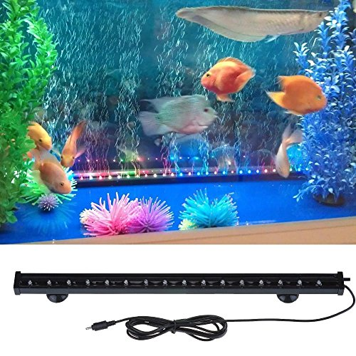 Angelwing Underwater LED Aquarium Bar Air Bubble Lights Fish Tank Beaming Lighting Colorful Seven Colors (Fish Inch Tank Bar 24 For Light)