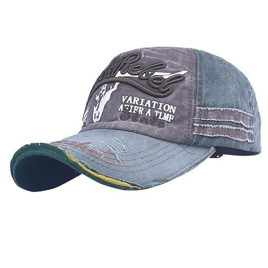fb4decfc819 Amazon.com  Shybuy Trucker Style Baseball Cap Hat Women Mens Vintage  Distressed Hats Hip Cap (A