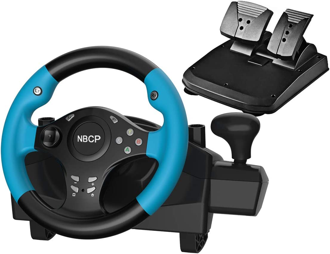 Gaming racing wheel 270 degree driving force vibration for PC / Nintendo Switch /PS3 / Android TV with pedals accelerator brake(Blue color)