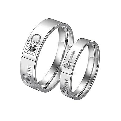 KY Jewelry - Anillo de acero inoxidable con grabado de amor para parejas, anillos para