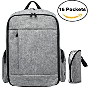 Baby Diaper Bag Backpack – Smart Travel Organizer with Large Capacity & Stroller Straps, Unisex for Mummy and Daddy, Grey