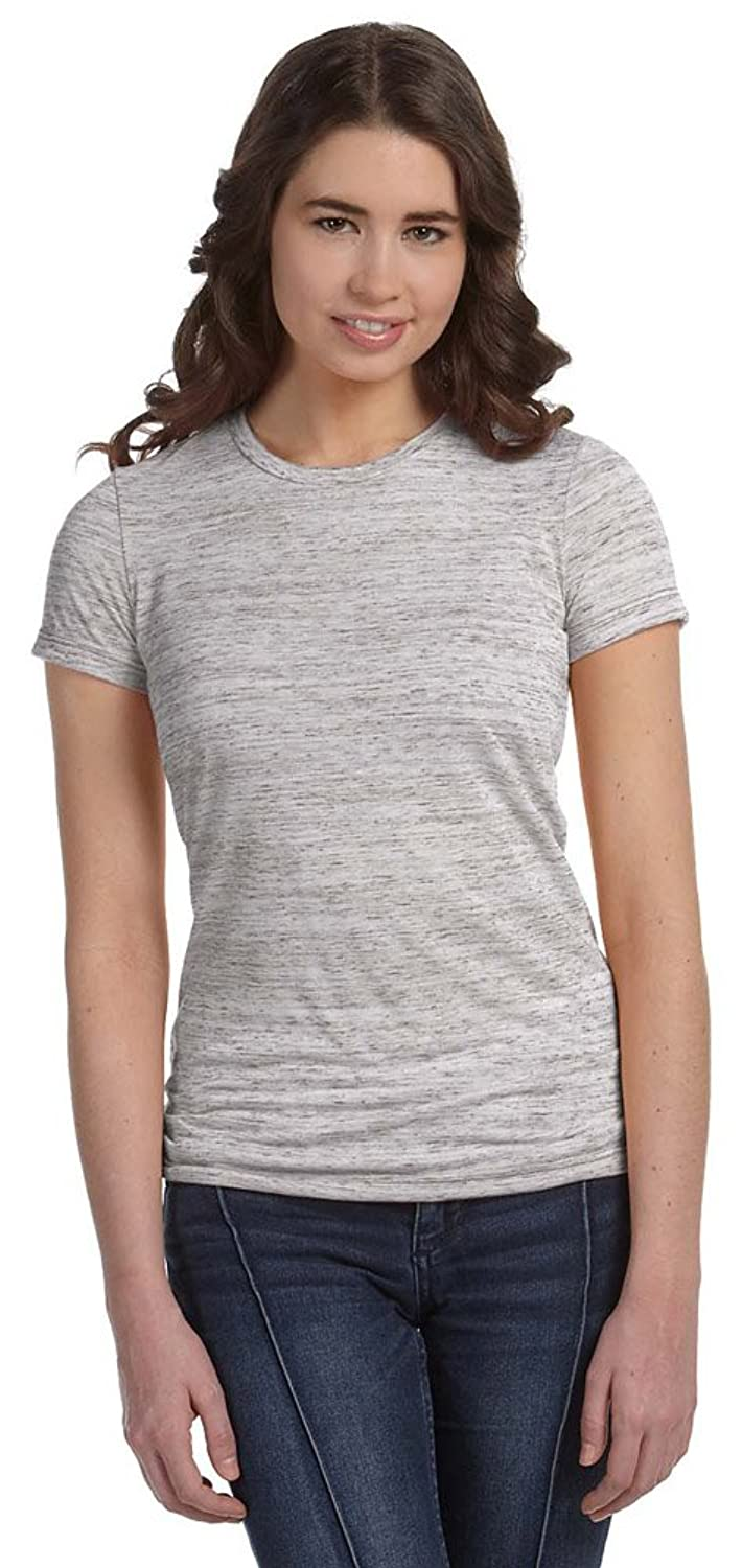 Bella + Canvas Womens Poly-Cotton Short-Sleeve T-Shirt (6650) WHITE MARBLE