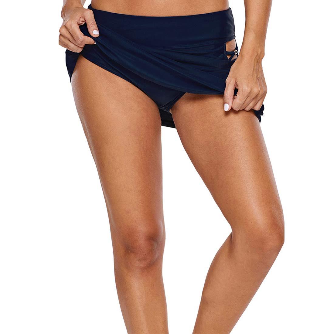 GWELL Damen Hollow Baderock A-Linie Badeshorts Badehose Figurformend Strandrock Bikinirock Schwimmrock Hotpants