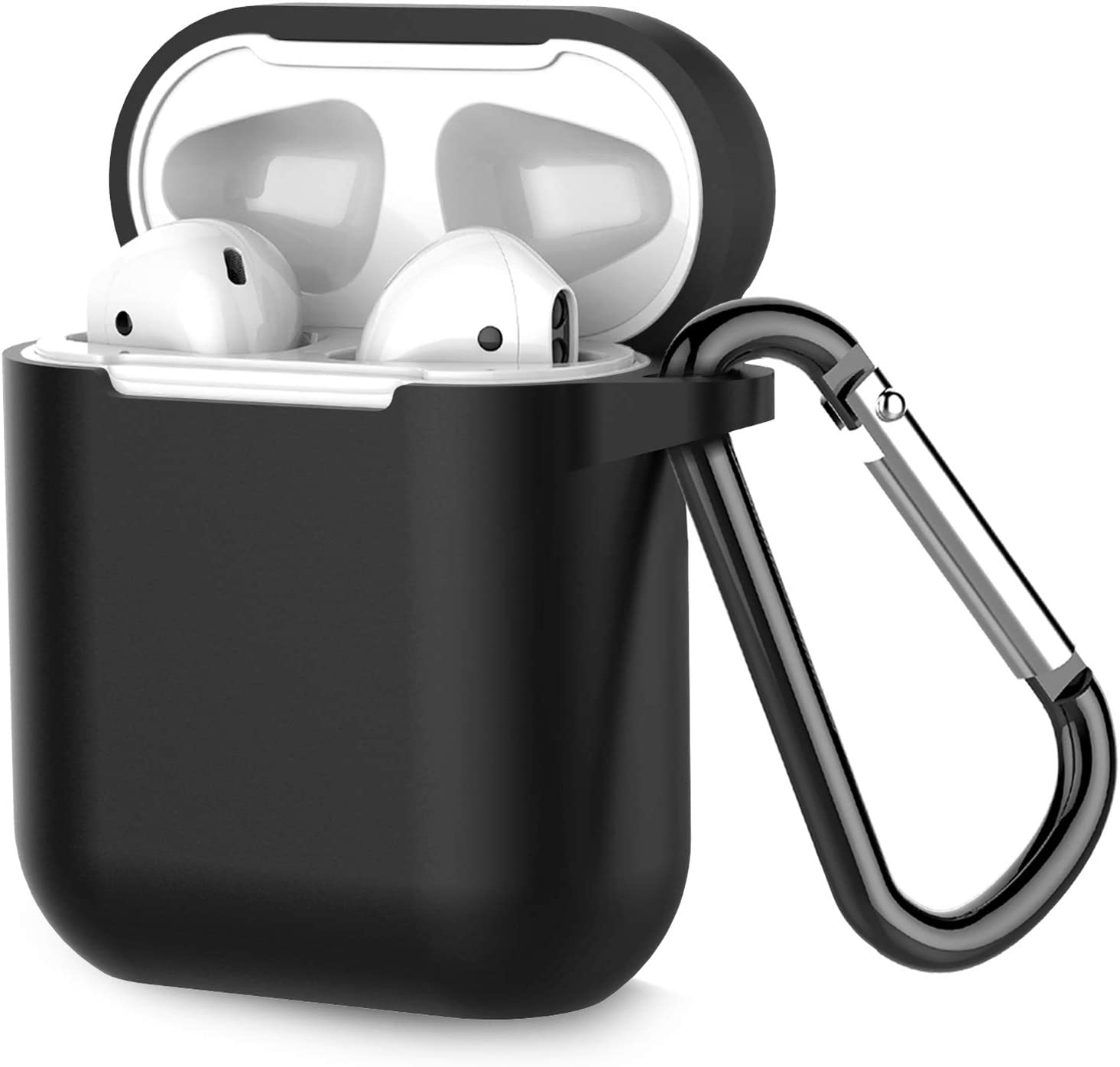 Airpods Case, Coffea AirPods Accessories Shockproof Case Cover Portable & Protective Silicone Skin Cover Case for Airpods 2 & 1 (Front LED Not Visible)(Black)
