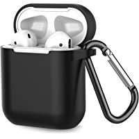 Coffea Protective Silicone Case with Keychain for Apple AirPods 1 & 2 (Front LED Not Visible) (Black)