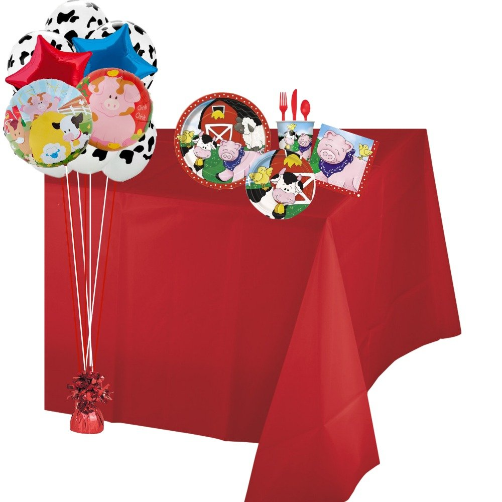 Barnyard Farm Animals Birthday Party Supplies Pack! Serving 8 Guests Complete Bundle Includes - Plates, Napkins, Cups, Table Cover, Cutlery, Balloons, Curling Ribbon & Balloon Weight!!
