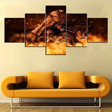 Large Framed Western Art cowboy HD Print Painting on Canvas art Wall Home Decor