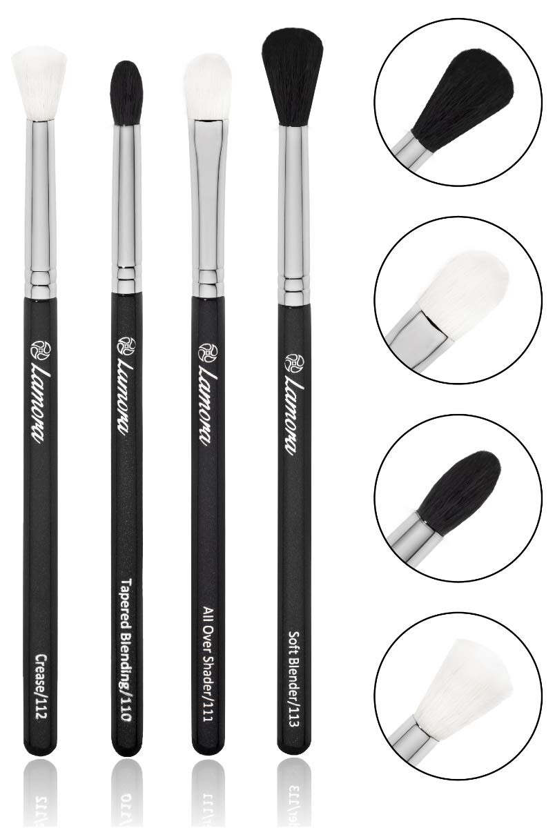 0425e7df64a Amazon.com: Pro Blending Brush Set - Smoky Eye Shadow Contour Kit - 4  Essential Shapes - Best Choice Crease, All Over Shader, Tapered, Soft  Blender - For ...