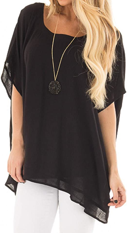 Womens Loose Short Sleeve T-Shirt Ladies Oversize Summer Casual Tops Blouses Tee