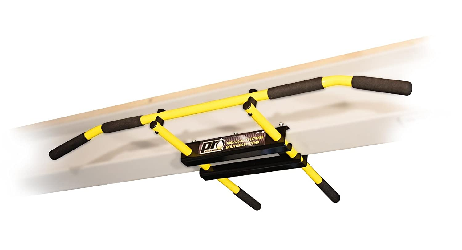 I-beam Pull up Bar / Chin up Bar (Yellow Long Bar with Bent Ends) PRO Mountings