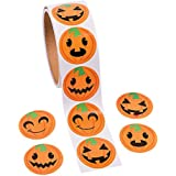 """Jack-o-lantern Pumpkin Face Halloween Roll Stickers ~ 100 Round 1.5"""" Paper Stickers ~ New / Shrink-wrapped"""