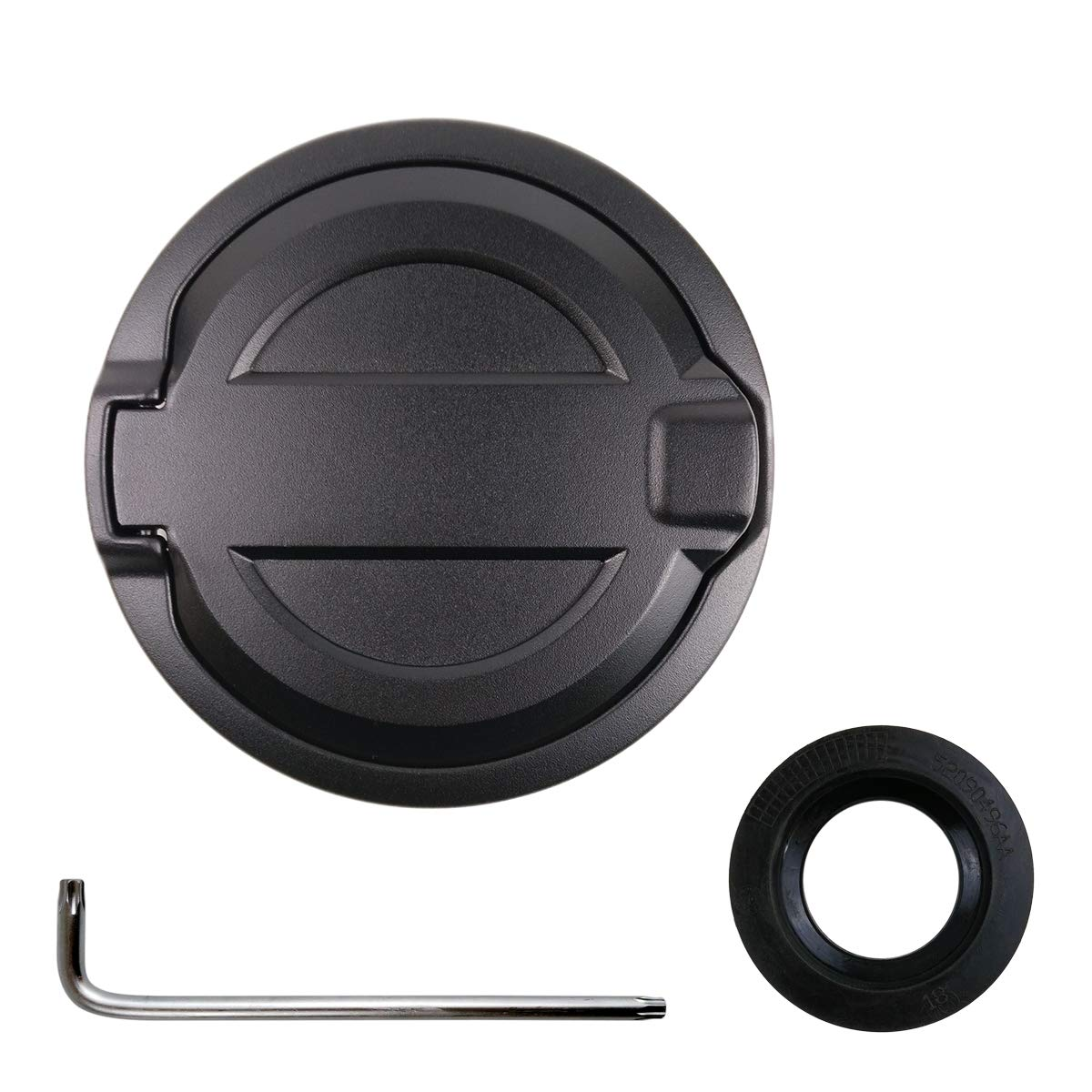 Gas Cap Cover for 2018 Jeep Wrangler JL & Unlimited 4-Door 2-Door Gas Tank Cap (come with Rubber Ring, Installation Tool) XBEEK