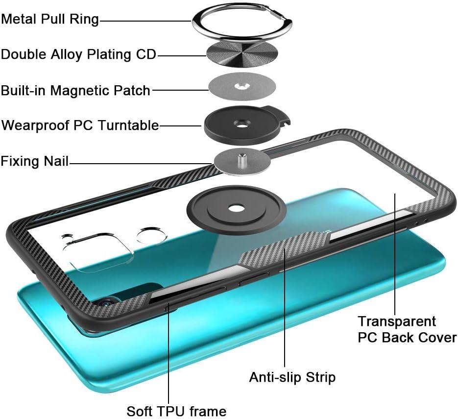 Anillo Soporte con rotaci/ón 360/º TOPOFU Funda Xiaomi Redmi Note 9 Suave Marco TPU Funda Trasera Transparente para Xiaomi Redmi Note 9 Negro Carcasa