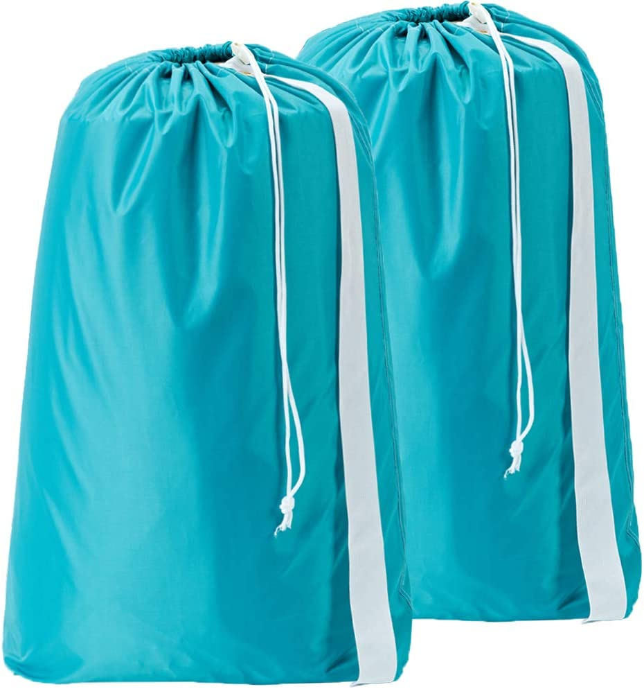 HOMEST 2 Pack XL Nylon Laundry Bag with Strap, Machine Washable Large Dirty Clothes Organizer, Easy Fit a Laundry Hamper or Basket, Can Carry Up to 4 Loads of Laundry, Sky Blue, Patent Pending