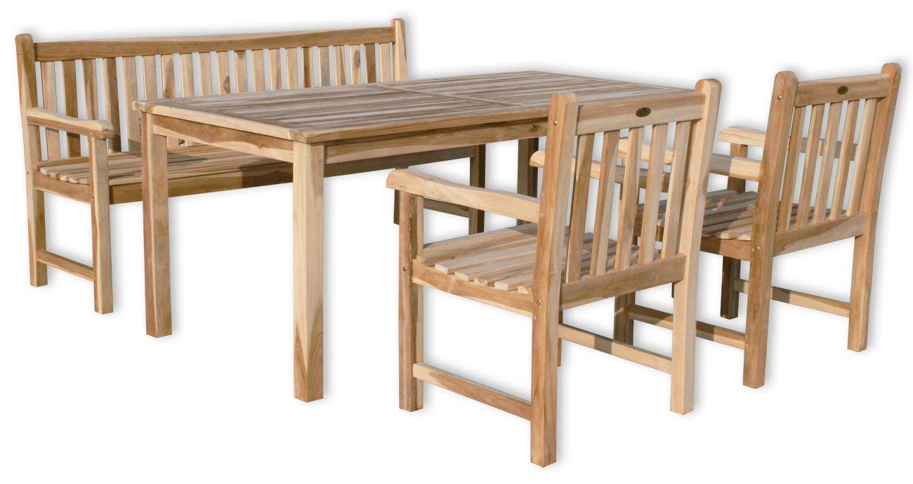 KMH®, Gartensitzgruppe Classic mit 180 cm langem Tisch für 6 Personen (ECHT TEAK) (#102204)