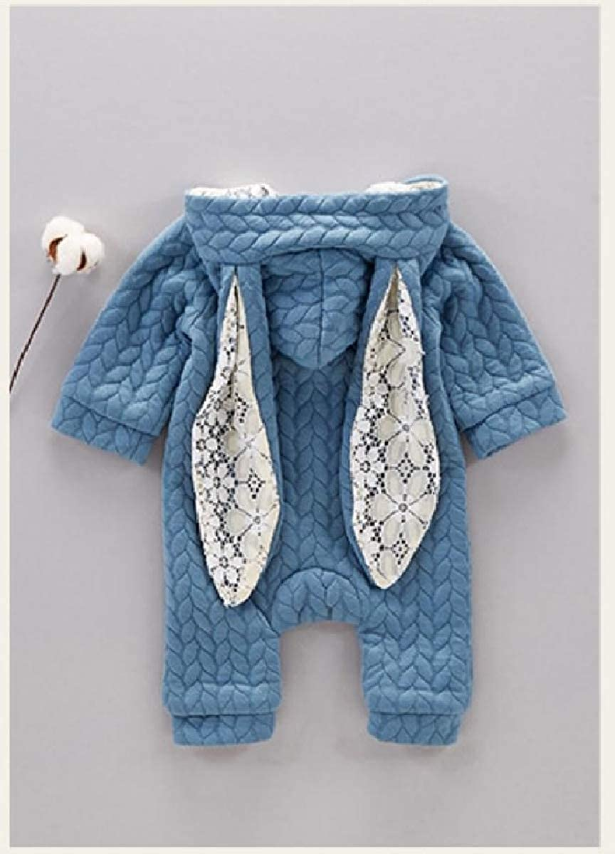 YUNY Newborn Baby Fall Winter Zip Up Cute Rabbit Pants Romper Playsuit Blue 90