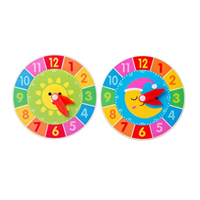 NUOBESTY Wooden Clock Toy Gear Clock Time Recognition Toy Teaching Demonstration Clock Number Color Learning Tool Sun Moon Pattern Education Tool: Toys & Games