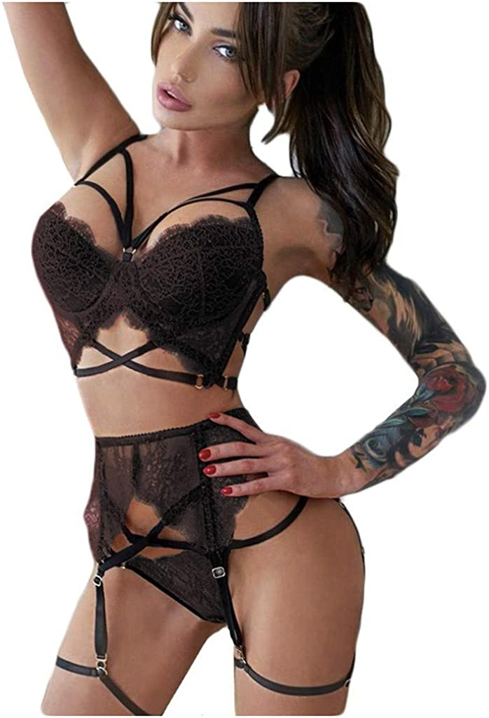 Women Lingerie Set Lace Teddy Strap Babydoll Bodysuit with Garter Belts