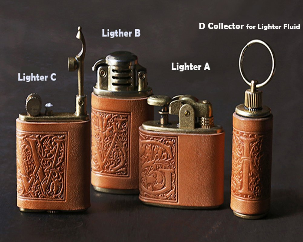 4 pcs set Personalized gift Vintage Lighter Genuine Leather cover FREE Engraving SN-001A+B+C+D