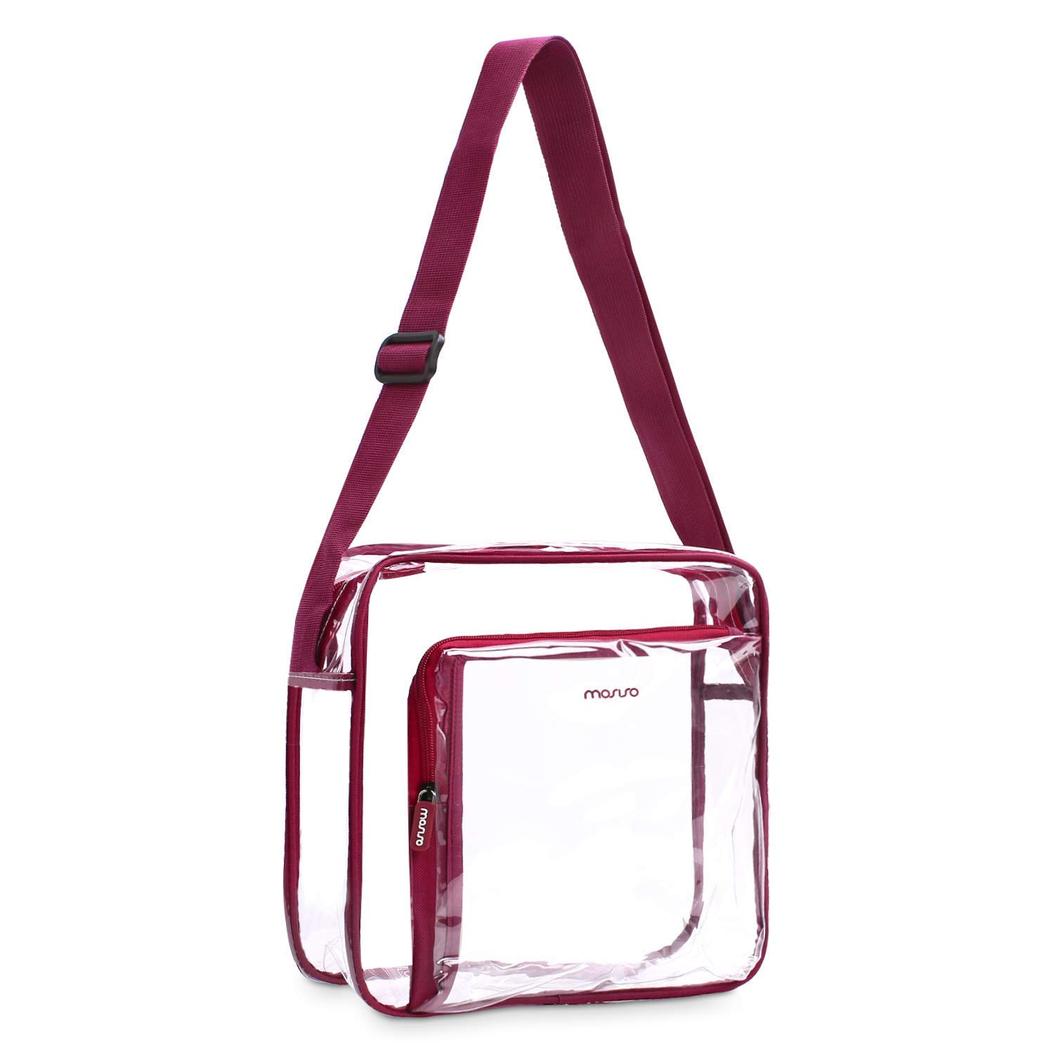 Mosiso Crossbody Bag TSA/NFL / NCAA Stadium Approved Transparent Waterproof Zippered Shoulder Messenger Satchel for Men/Women, Shopping/Beach / Travel, Clear & Wine Red
