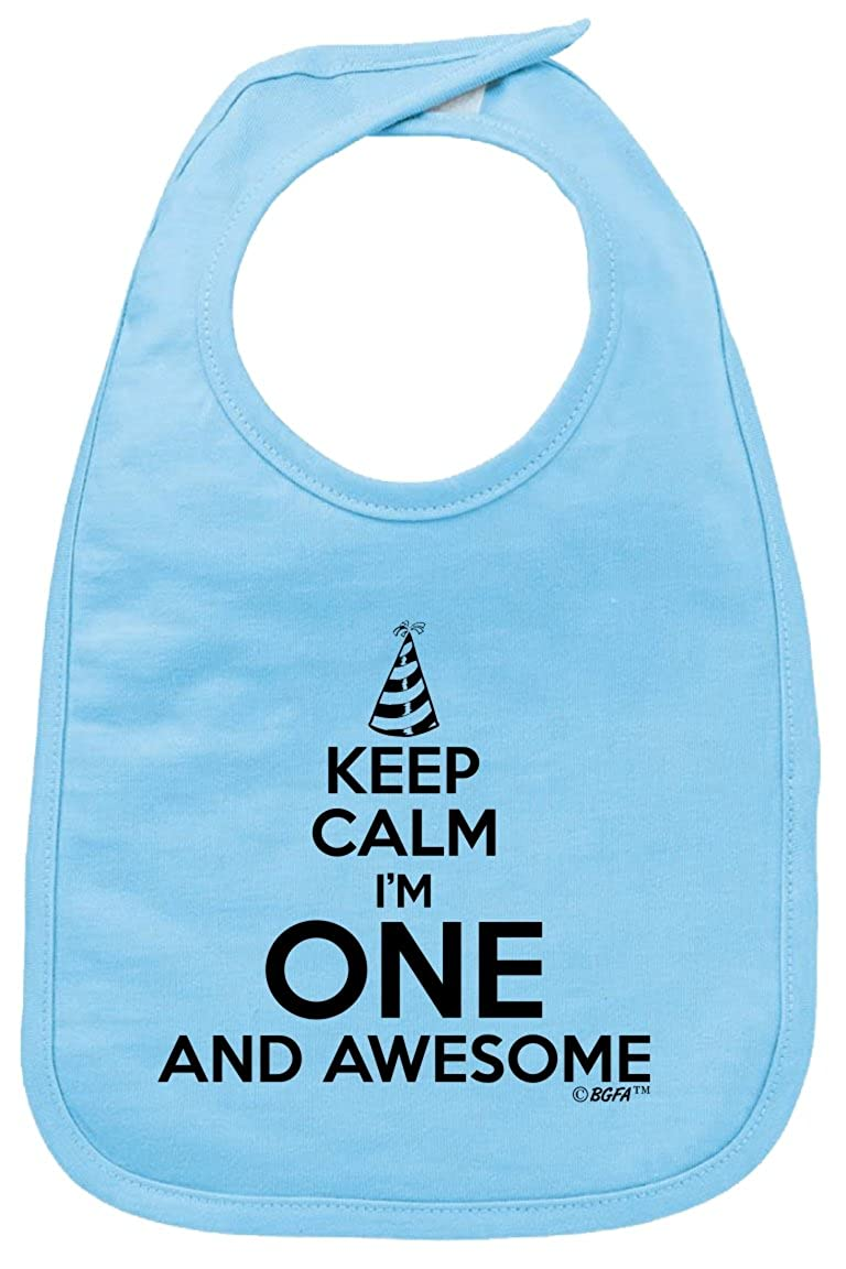 Baby Gifts For All 1st Birthday Keep Calm One and Awesome Baby Bib A-IN-BD108-BB10-LtBl