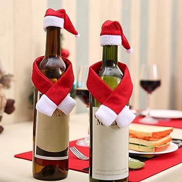 Amazon.com: m·kvfa - 2 gorros de Papá Noel para botella de ...