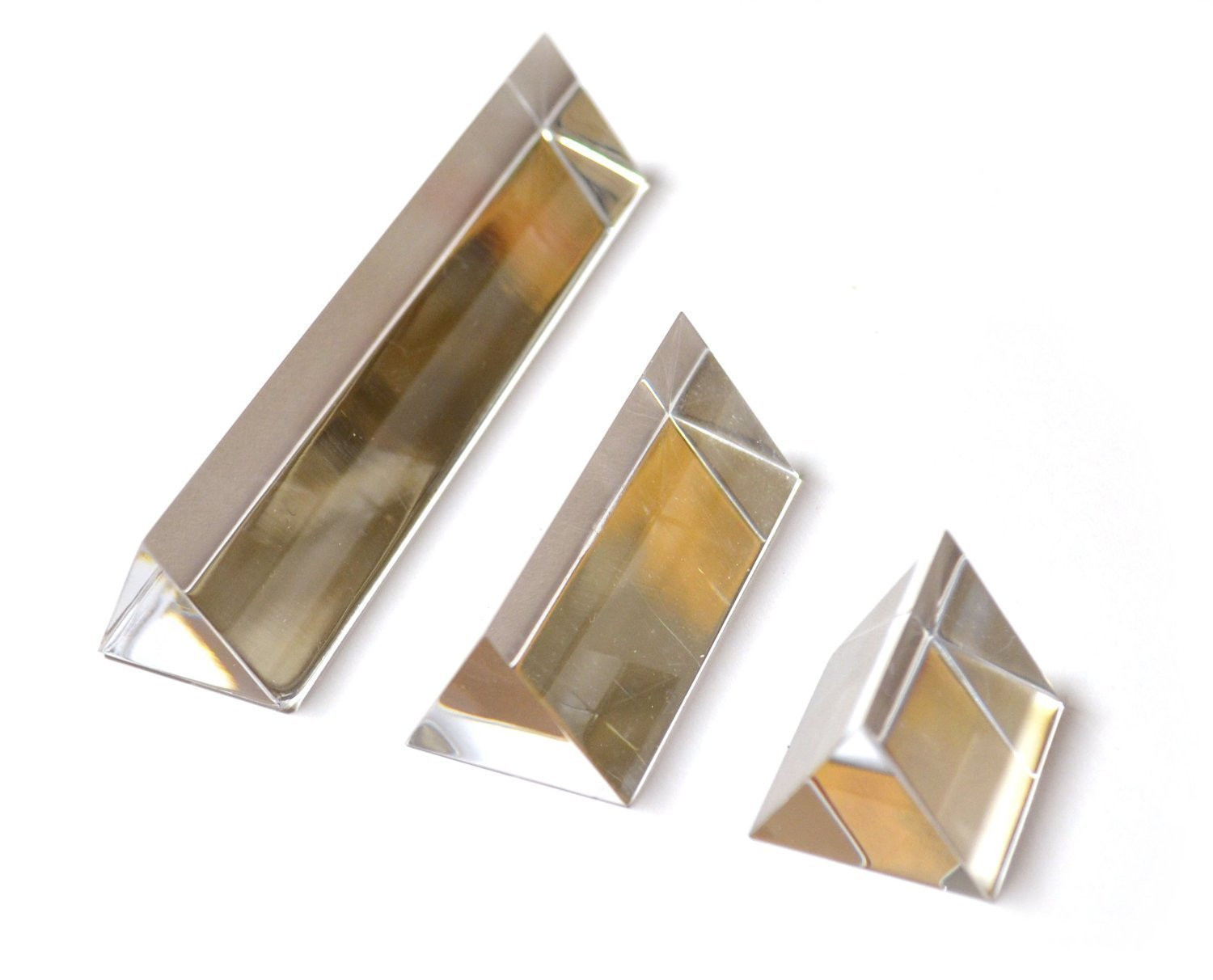 Eisco Labs Equilateral Acrylic Prisms With 1 inch Sides, Set of 3 Prisms - 1 Inch, 2 Inch, and 4 Inch Lengths