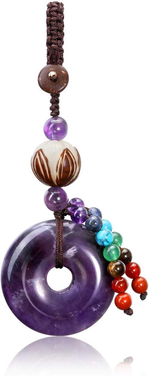CrystalTears - Llavero con piedras preciosas y colgante con 7 cuentas de chakra, amatista (Morado) - FPDE0730