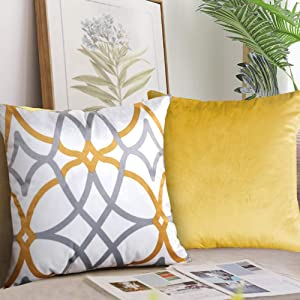 H.VERSAILTEX Original Velvet Cushion Covers 18x18 Mix and Match (Set of 2) Decorative Throw Pillow Covers for Living Room/Sofa/Couch Bed (Mustard/Grey&Mustard)