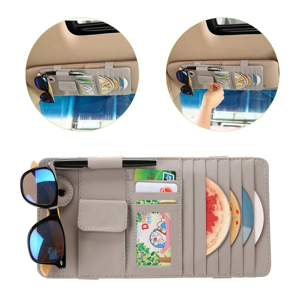LELANCE Car Visor Organizer, Multi-Function Leather Sunshade Card Holder Bag Car Interior Accessories 4 Credit Cards Pockets + 1 Sunglasses Holder + 1 Pen Holder for Universal Truck Interior(Grey) by LELANCE